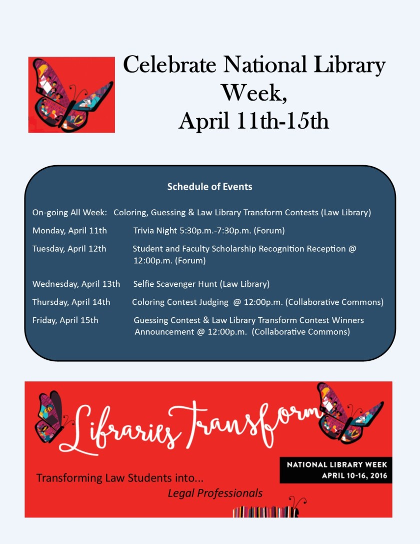National Library Week events sign