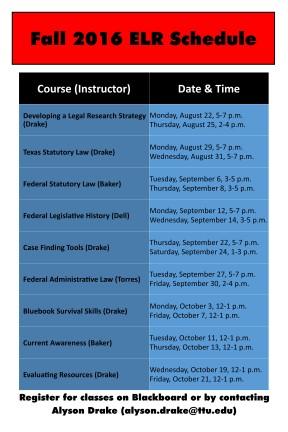ELR schedule fall 2016