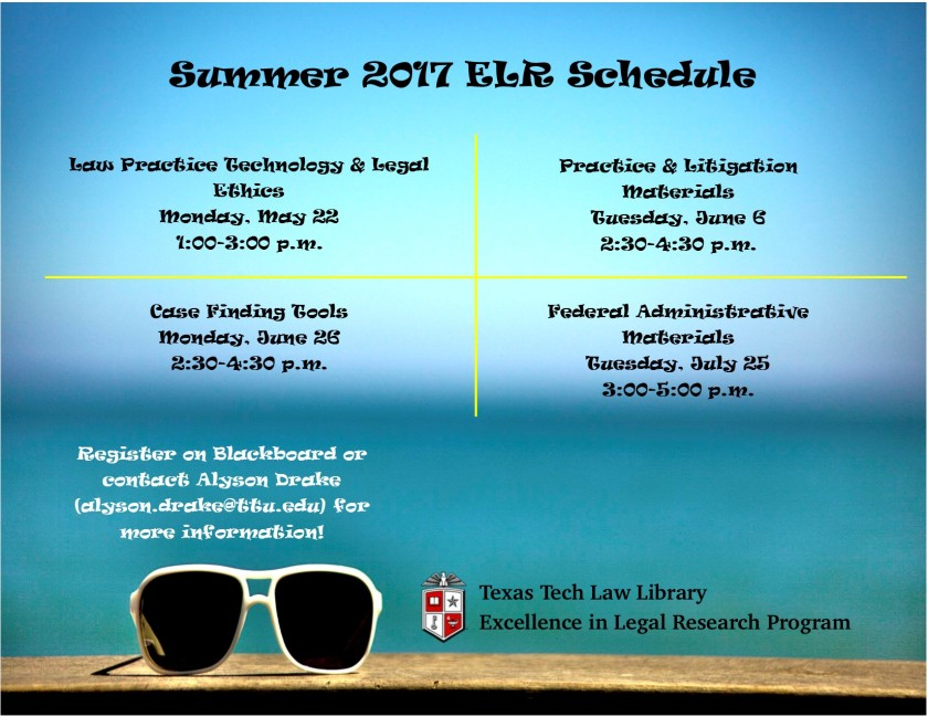 Summer 2017 ELR Schedule