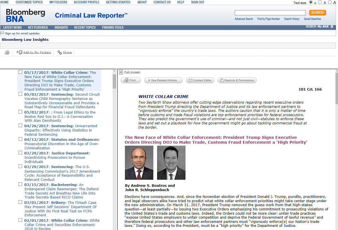 Bloomberg's Criminal Law Reporter – Insights
