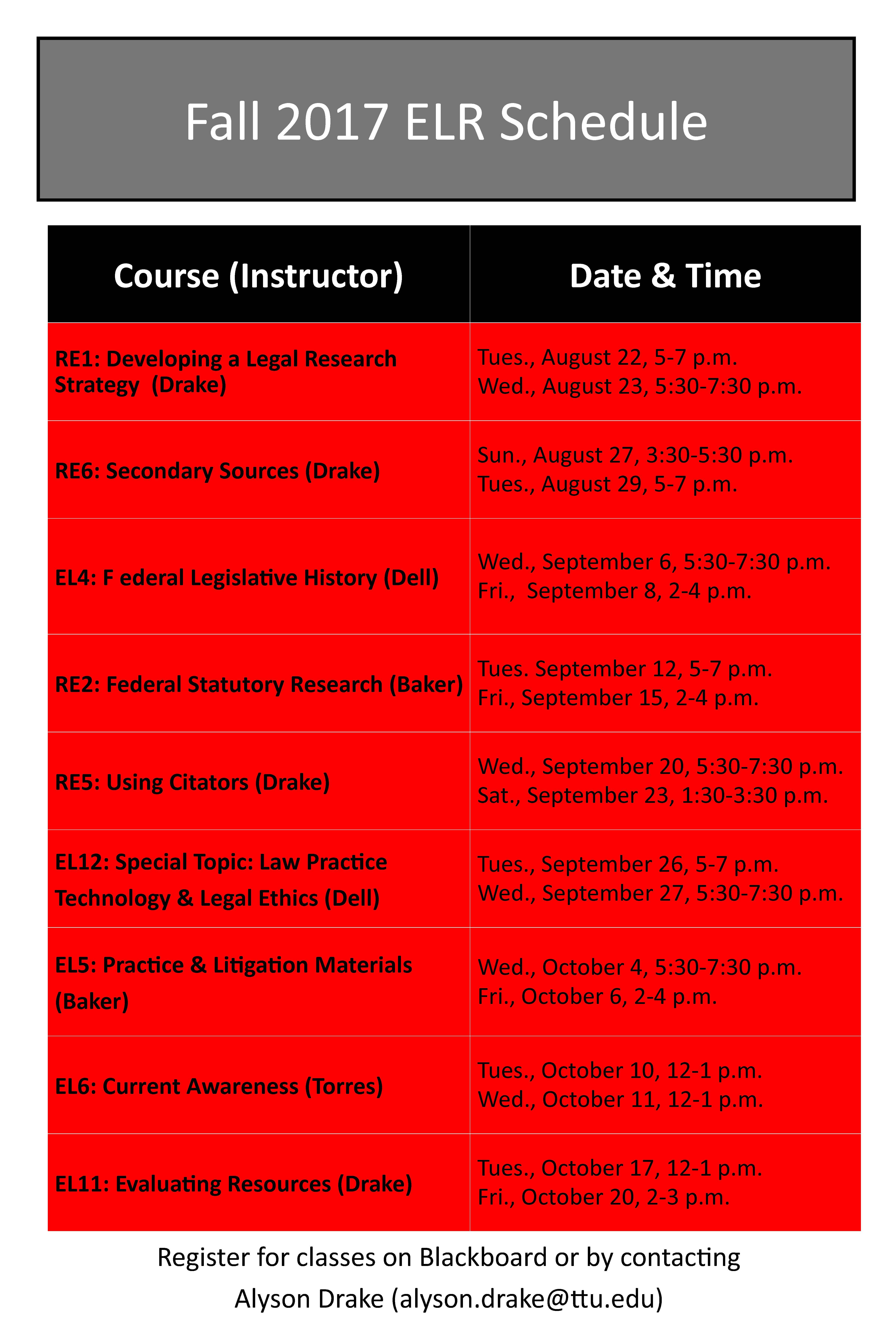 ELR schedule fall 2017
