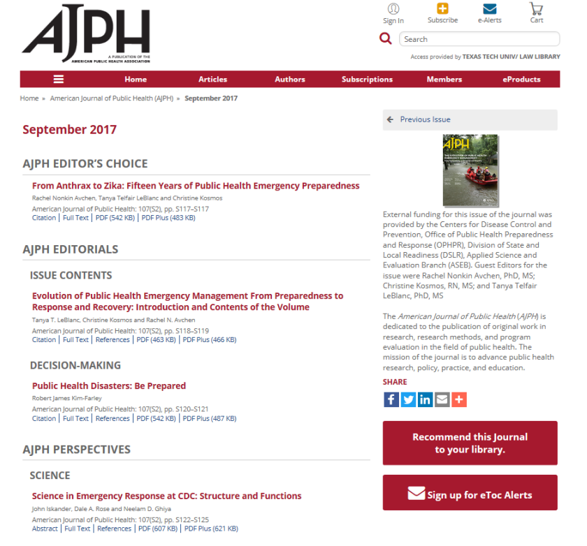 AJPH current issue 2
