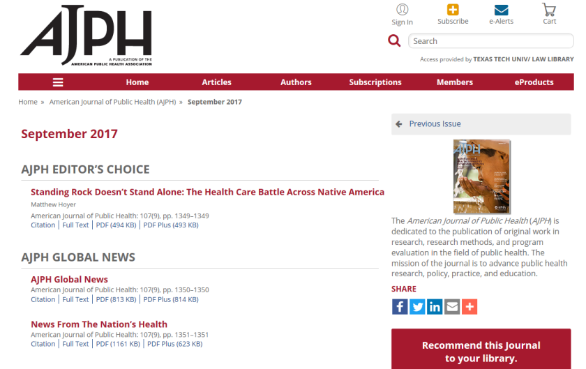 AJPH Current Issue