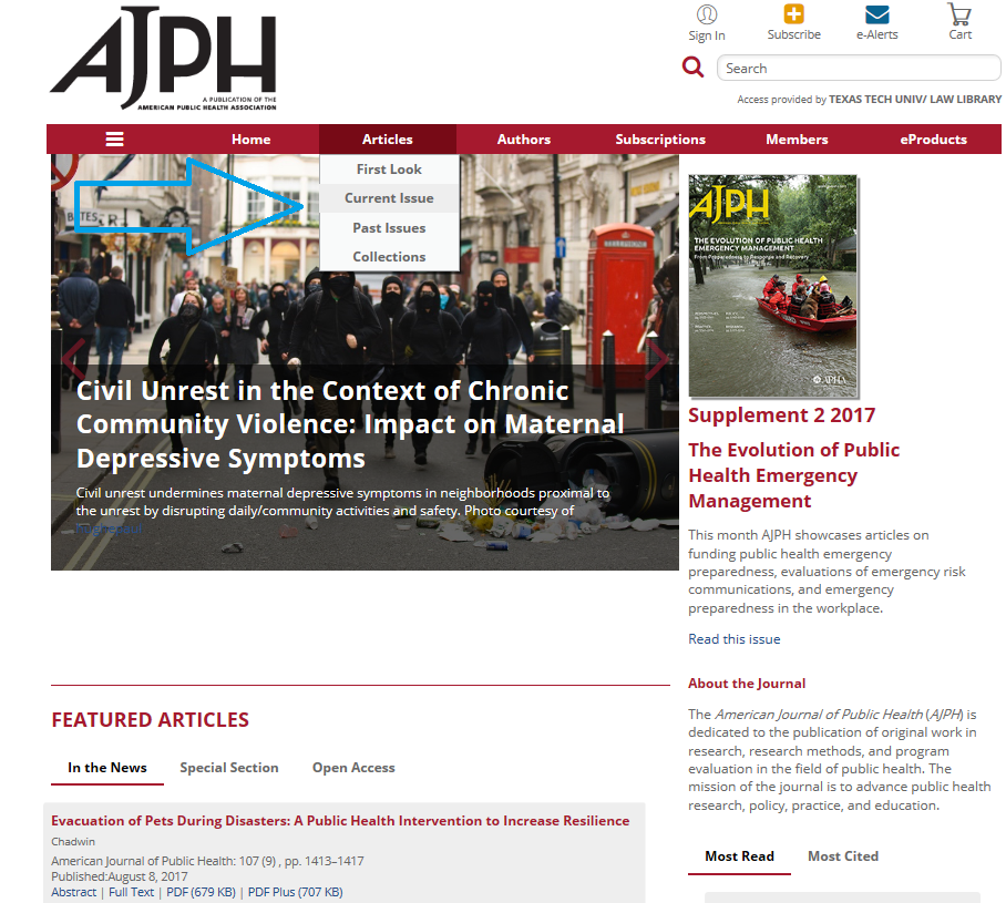 AJPH current issue with arrow