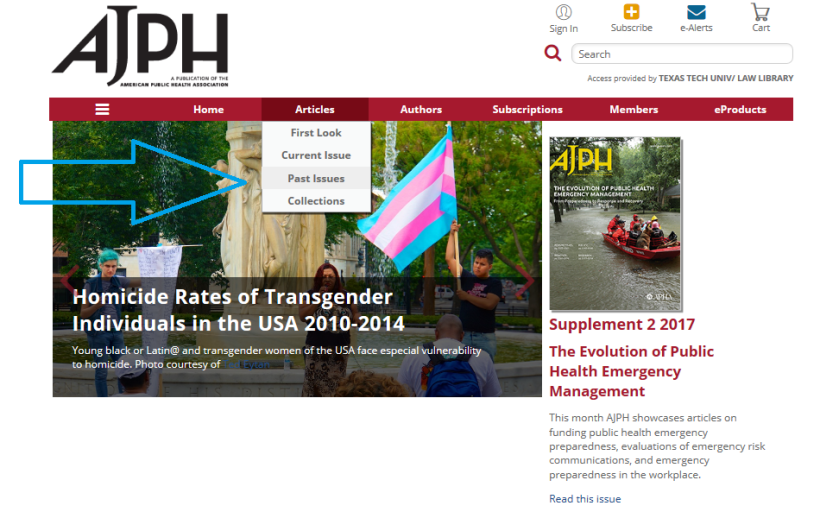 AJPH past issues from homepage