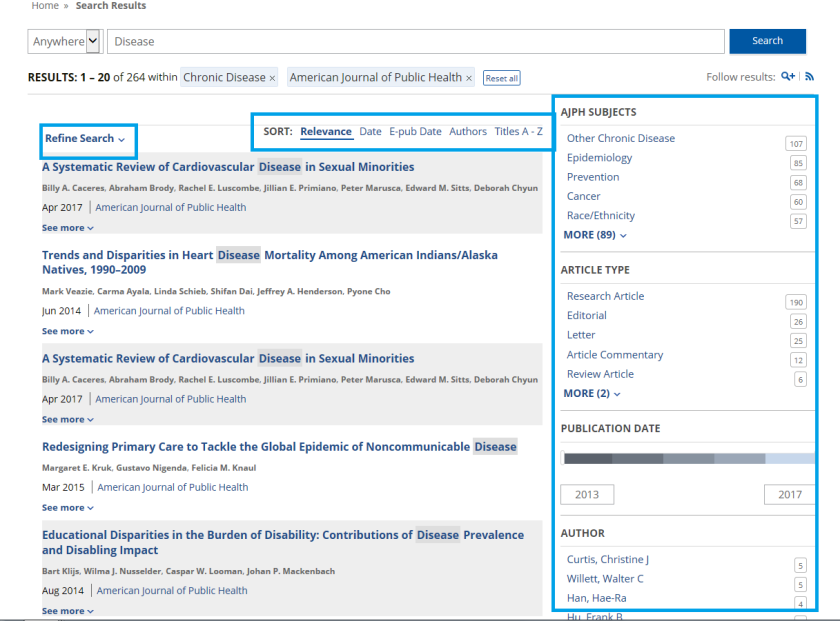 AJPH search results with boxes
