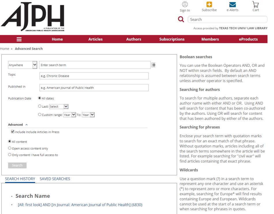AJPH search tool