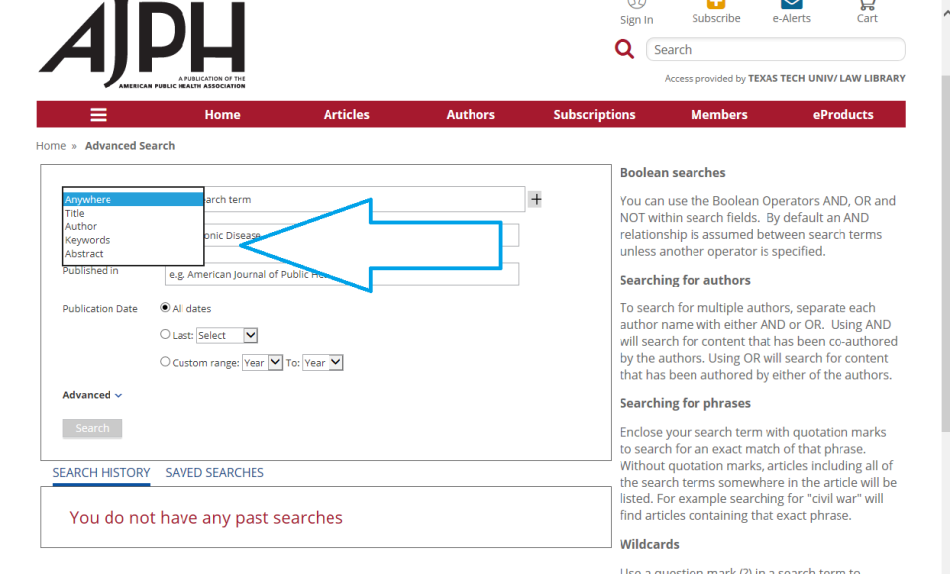 APJH search with arrow