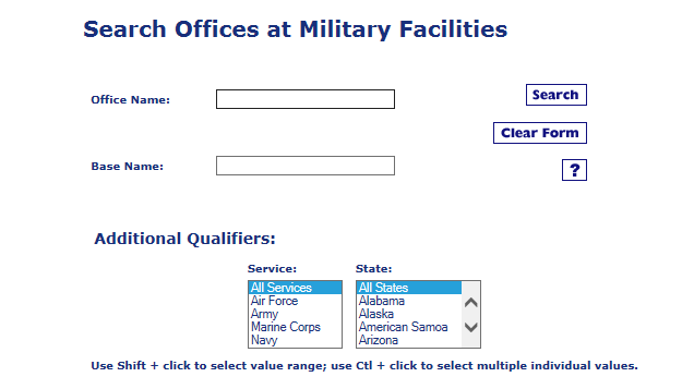 military office search