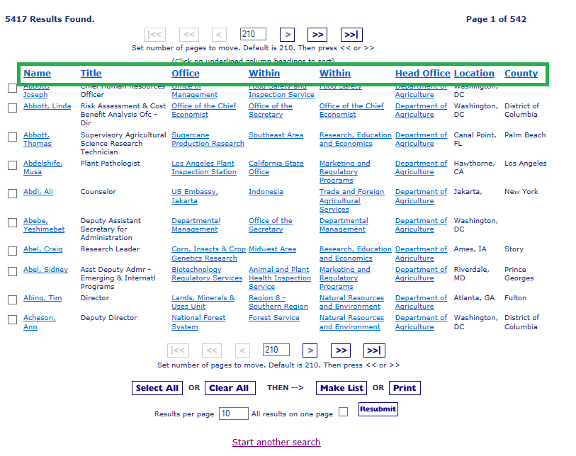 Results page with green box on categories