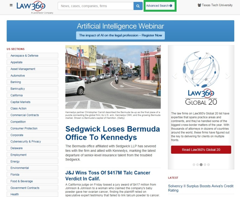 1. Law 360 Home page for advanced search