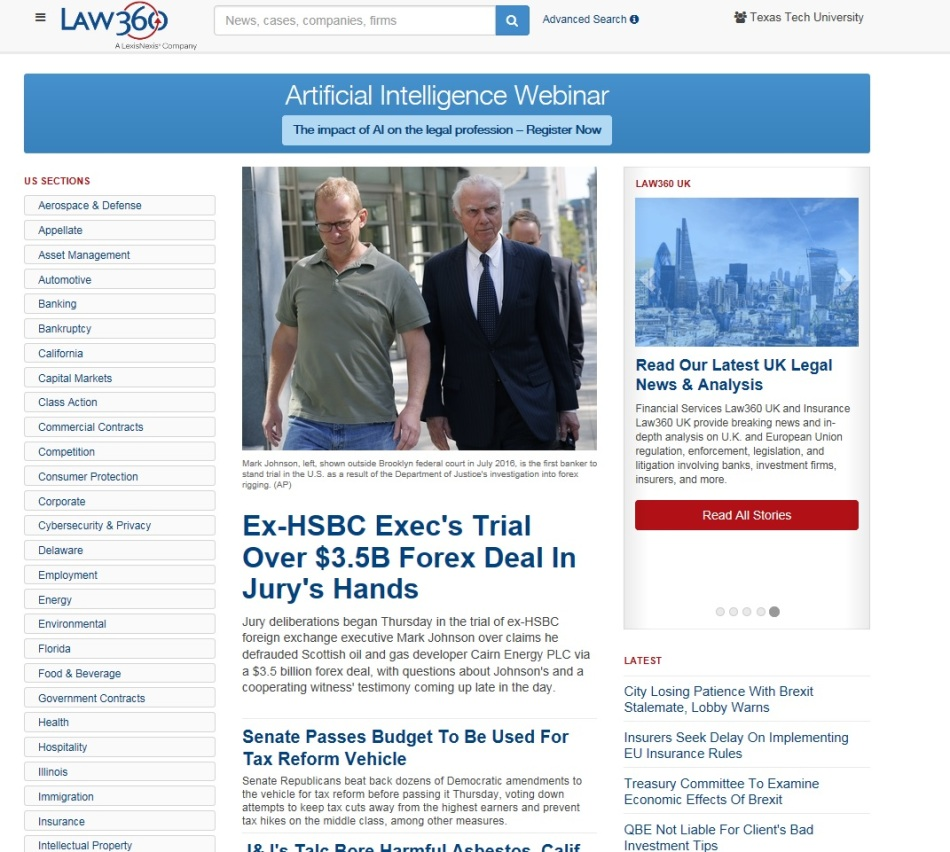 1. Law 360 Home Page