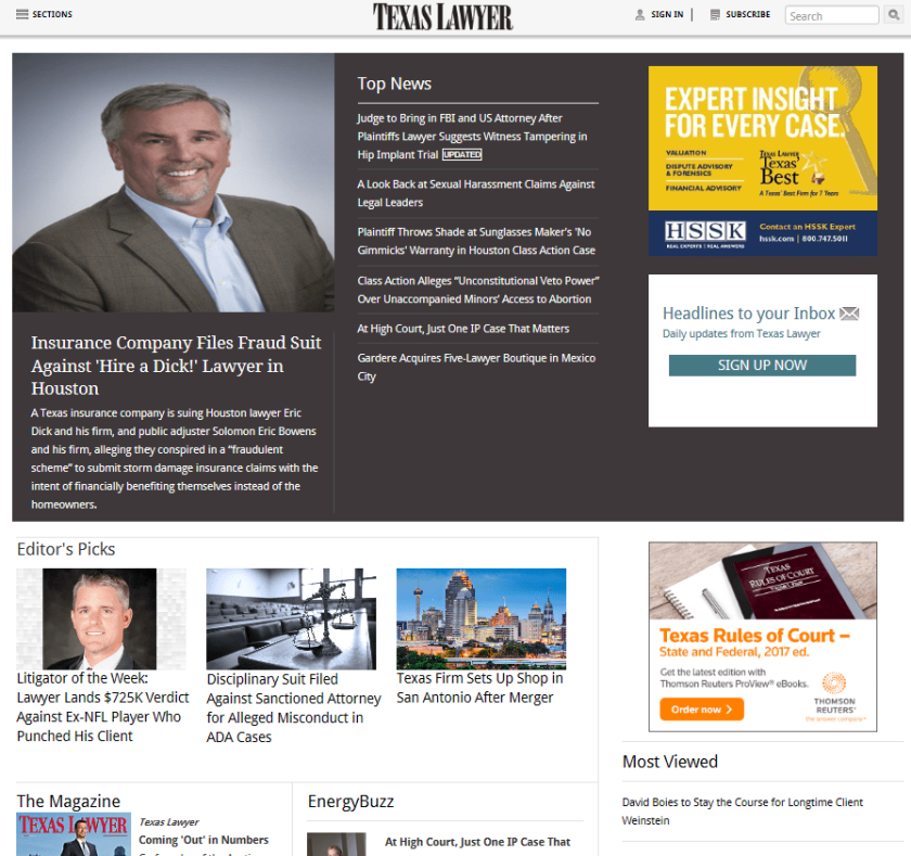 Texas Lawyer home page