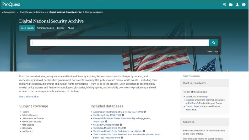 Proquest Digital National Secutiy